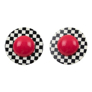 Harriet Bauknight for Kaso Lucite Clip on Earrings B & W Checkerboard For Sale