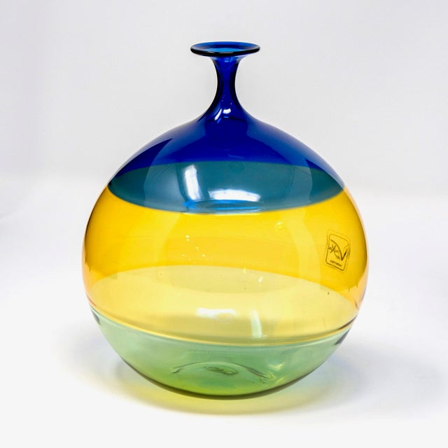 Circa 1990s medium sized globe shaped Murano glass vase signed by Vinciprova features a narrow neck and color block body...