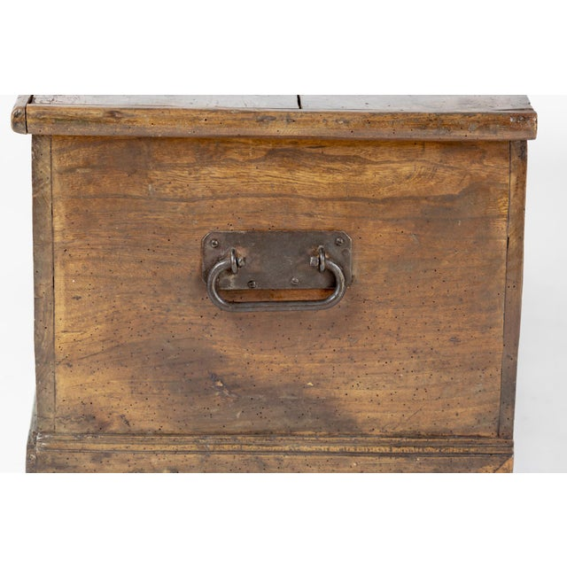 Rustic Chestnut Trunk With Over-Scale Iron Hinges, English Circa 1860. For Sale - Image 10 of 13