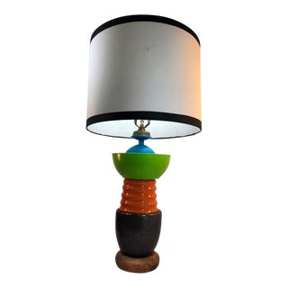 Handmade Playful and Colorful Neon Green & Orange Table Lamp For Sale