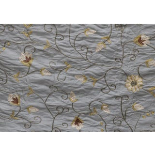 Kravet Lee Jofa Dupioni Silk Embroidered Floral and Foliage Silver Gray Fabric For Sale