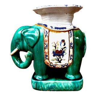 Hollywood Regency Teal Ceramic Elephant Garden Stool