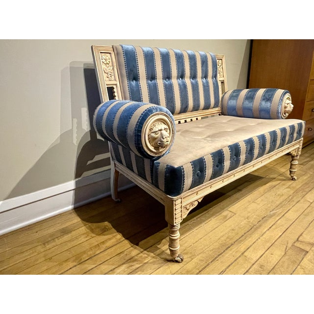 Victorian 19th Century Vintage Victorian Settee For Sale - Image 3 of 8