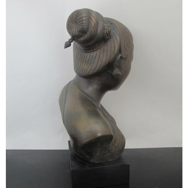 20th Century Figurative Bronze Sculpture of Burmese Thai Woman Female Bust For Sale In Portland, OR - Image 6 of 9