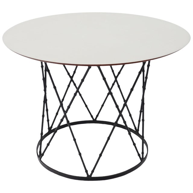 Enameled Top Faux Bamboo Base Mid-Century Modern Dining Dinette Table For Sale