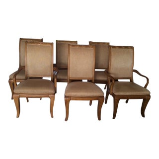 Scrolled Dining Room Chairs W/ Gold Accents - Set of 6 For Sale