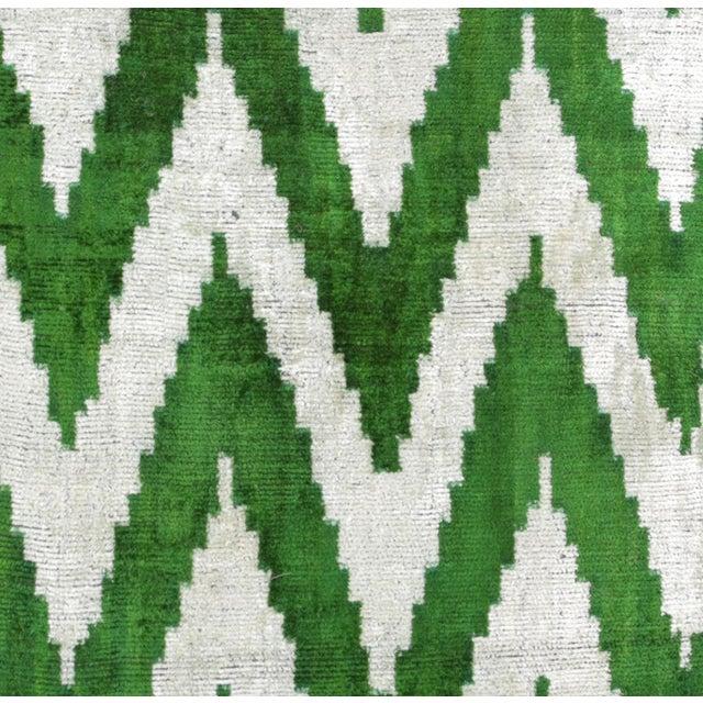 Green and Cream Chevron Silk Velvet Pillows - A Pair - Image 2 of 3