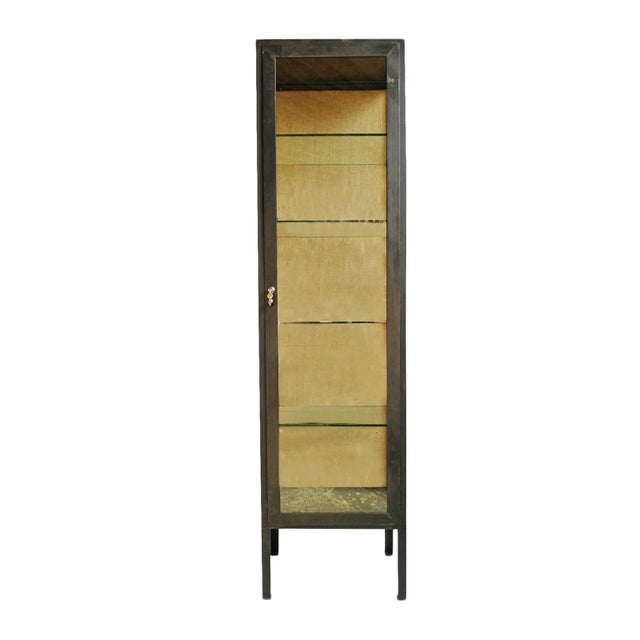 Iron & Glass Tall Display Cabinet For Sale - Image 4 of 4