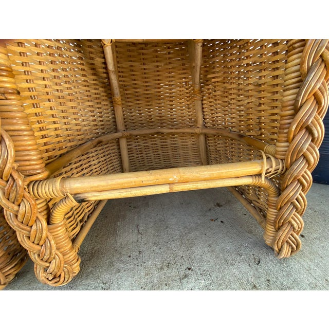 Wicker Vintage 1970's Crespi Style Woven Rattan and Bamboo Bar Stools - a Pair For Sale - Image 7 of 13