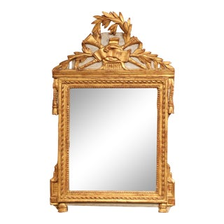 18th Century French Louis XVI Carved Giltwood Mirror From Provence For Sale
