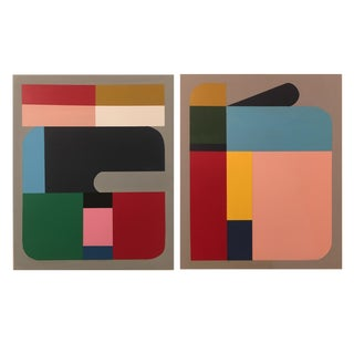 Brooks Burns Original Color Blocked Abstract Paintings - A Pair For Sale
