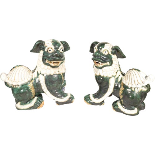 Ceramic Large Glazed Green and Cream Terra-Cotta Chinese Foo Dogs - a Pair For Sale - Image 7 of 7