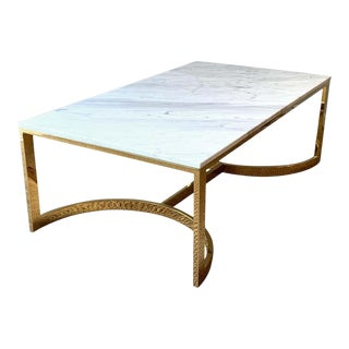 1990s Brass and Marble Cocktail Table For Sale
