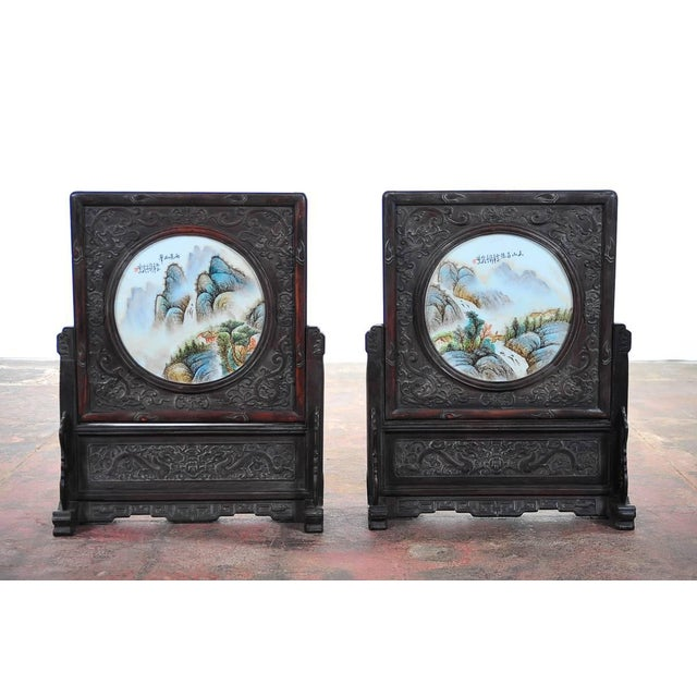 """Chinese Large pair of Circular Porcelain Hand Painted Panels size 21 x 30"""" A beautiful piece that will add to your décor!"""
