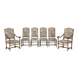Set of 6 French Dining Chairs Os De Mouton For Sale
