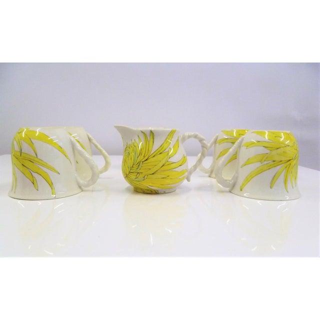 Ceramic Mid-Century Modern Hand Painted Ceramic Ernestine Ceramiche Chrysanthemum Tea / Coffee Cups Salerno Italy - 12 Piece Set For Sale - Image 7 of 13