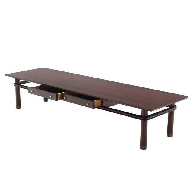 Long Mid-Century Modern Walnut Coffee Table with Two Drawers For Sale In New York - Image 6 of 9