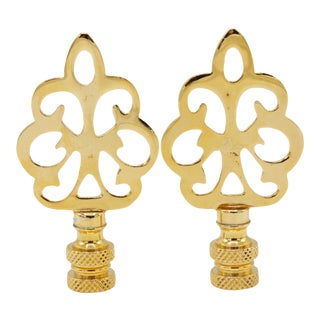 Brass Pineapple Lamp Finials - a Pair For Sale
