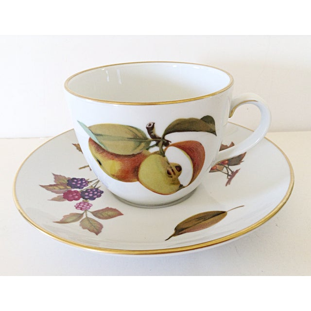 Royal Worcester Royal Worcester Evesham Cup & Saucers - Set of 10 For Sale - Image 4 of 5