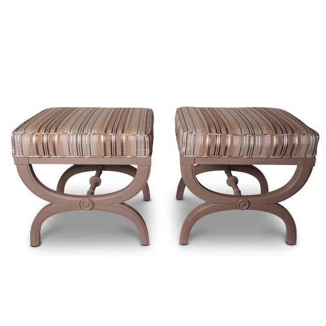Vintage Hollywood Regency X-Benches - A Pair - Image 2 of 2
