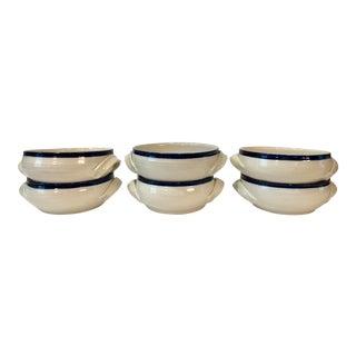 Blue and Cream Ceramic Soup Bowls - Set of 6