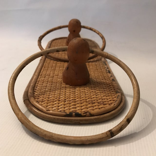 Vintage bamboo double towel holder with woven flat back.