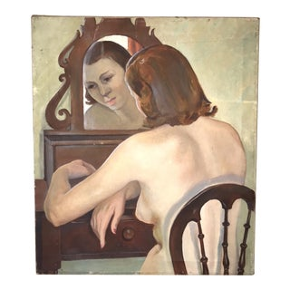 Early 20th Century Antique Oil Painting Nude Portrait of Woman at Boudoir Vanity For Sale