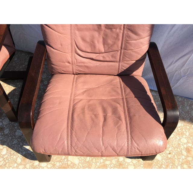 Blush Mid-Century Bentwood Leather Chairs - A Pair - Image 6 of 10