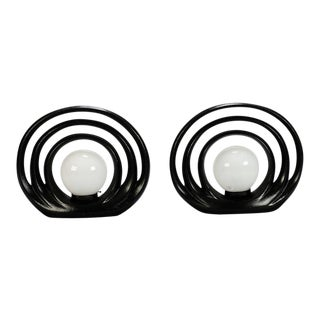 Pair Mid Century Italian Op Art Black and White Lamps For Sale