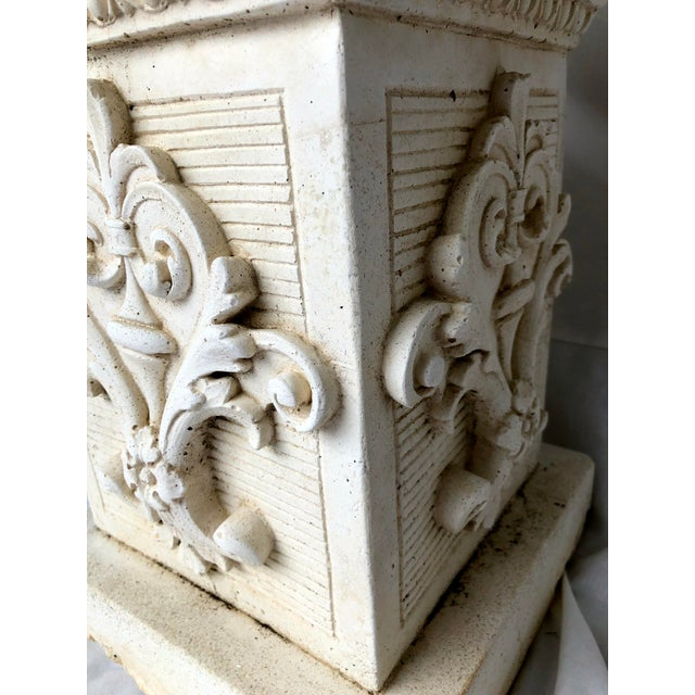 Vintage Mid Century Cast Stone Fruit Basket Finials on Pedestals- a Pair For Sale In San Francisco - Image 6 of 11