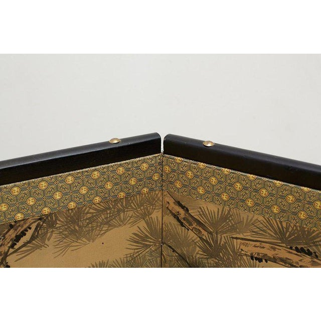 Green Japanese Four Panel Screen of Hawks in Pine Tree For Sale - Image 8 of 13