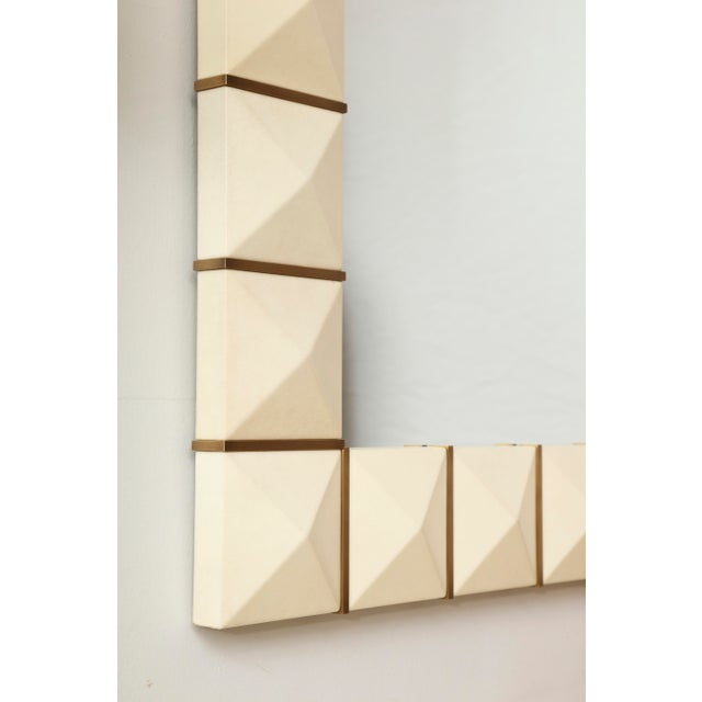 Modern Custom Geometric Parchment Mirror With Inlaid Brass For Sale - Image 3 of 6
