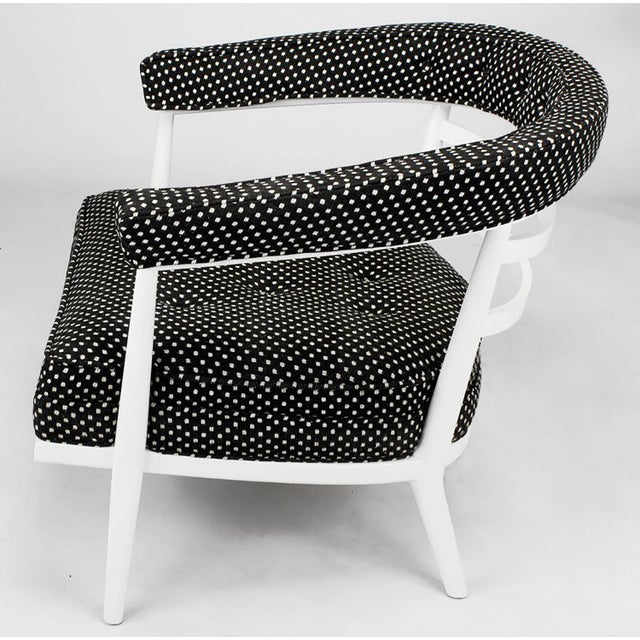 Johnson Furniture Co. Four Bert England White Lacquer & Black Polka Dot Lounge Chairs For Sale - Image 4 of 9