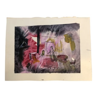 """Original Vintage Theatre Illustration Watercolor Painting """" the Idiot"""" Signed For Sale"""