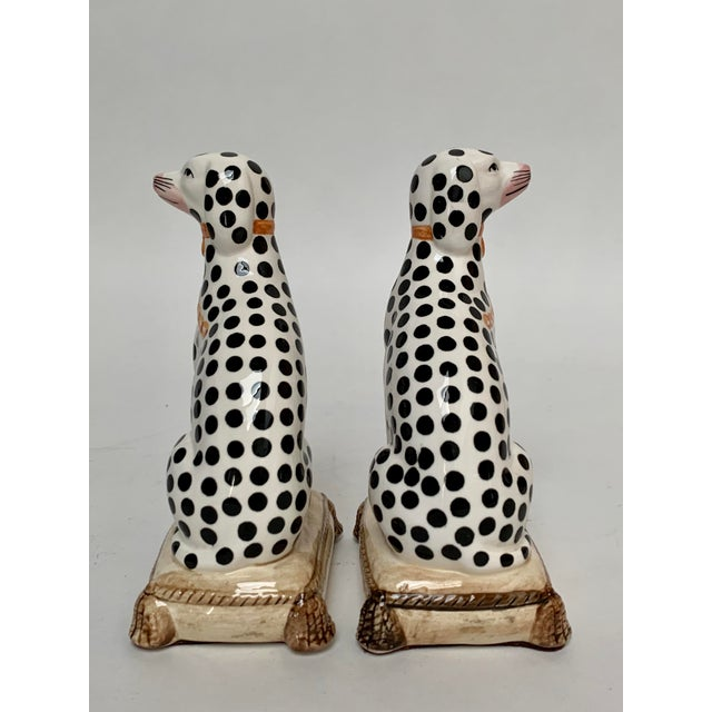 English Staffordshire Style Porcelain Dalmatian Dog Bookends – a Pair For Sale - Image 3 of 8
