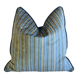 "Brunschwig & Fils Blue & Gold Striped Velvet Feather/Down Pillow 24"" Square For Sale"