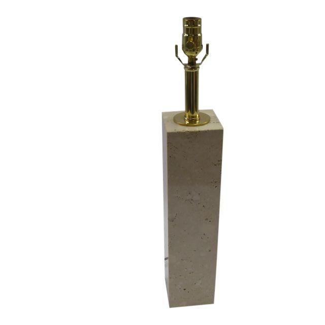 Robsjohn-Gibbings Style Mid-Century Travertine Marble Table Lamp For Sale