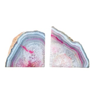 Pink Geode Bookends - a Pair For Sale