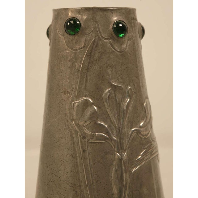 Signed French Art Nouveau Metal Vase For Sale - Image 10 of 10