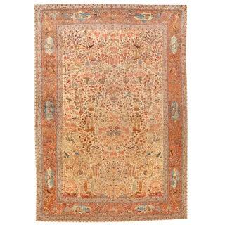 Exceptional Antique Late 19th Century Dabir Kashan Carpet For Sale