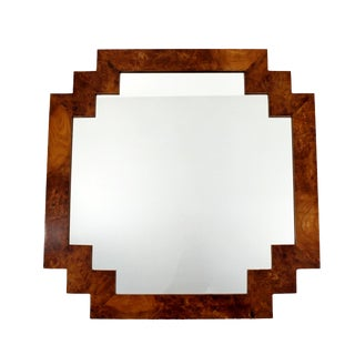 1970s Vintage La Barge Italian Burl Wood Wall Mirror For Sale