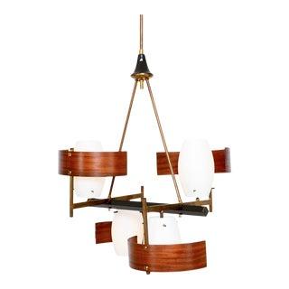 Modern Bentwood Brass Italian Chandelier in the Style of Stilnovo For Sale