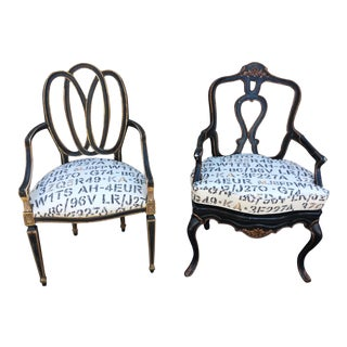 Vintage His & Hers Regency Side Chairs- a Pair For Sale