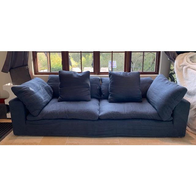 2010s Restoration Hardware Navy Cloud 2 Seat Down Sofa For Sale - Image 5 of 13