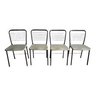 Mid-Century Modern Black Metal Ladderback Folding Chairs - Set of 4 For Sale