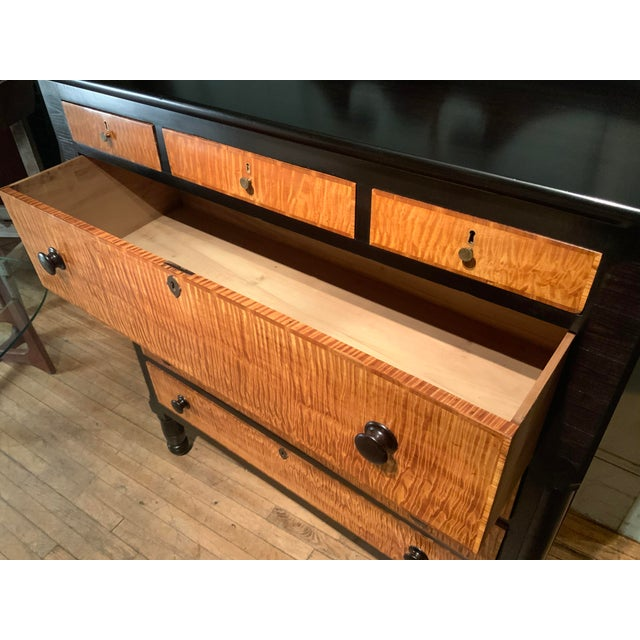 19th Century American Empire Ebonized and Tiger Maple Tall Chest For Sale In New York - Image 6 of 9