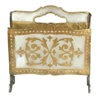 Mid Century Modern Italian Florentine Magazine Rack Gold Gilt