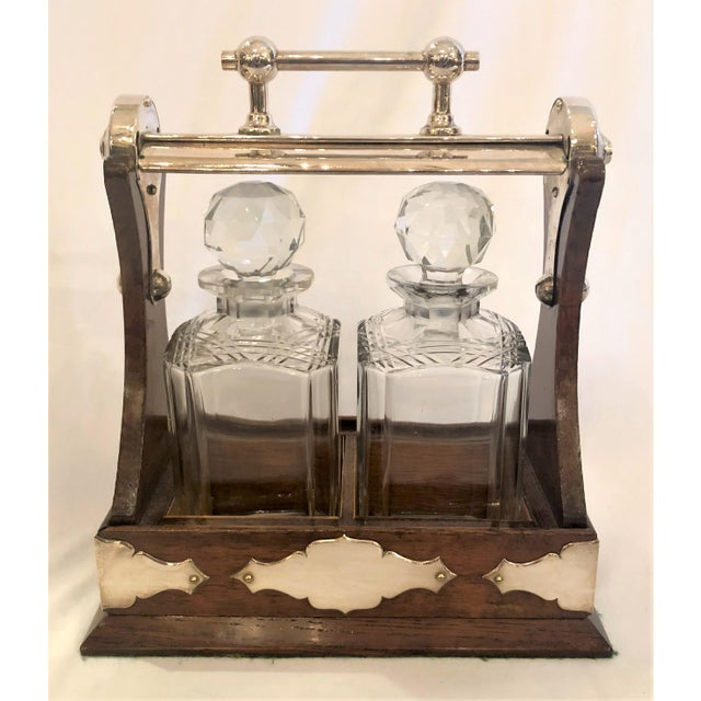 Antique English Tantalus With Sheffield Silver Mounts, Circa 1910. For Sale - Image 4 of 4