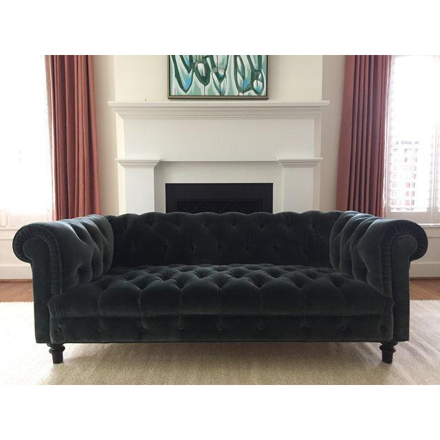 Custom John Robshaw For Duralee Dark Green Velvet Sofa   Image 2 Of 7