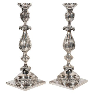 Pair of 19th Century Polish Sterling Silver Repoussé Sabbath Candlesticks For Sale